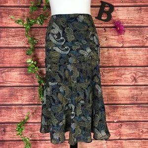 Jones New York Skirt 10 Blue Brown Paisley Silk